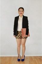 black H&M blazer - pink fur DIY purse - Poshmark shorts