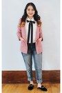 Pink-h-m-blazer-white-quilted-mossimo-purse-white-bow-ruffles-zara-blouse