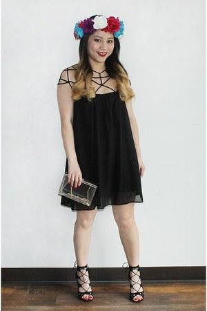 black geometric romwe dress - transparent Forever 21 purse