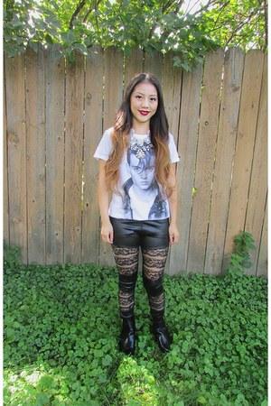 black China boots - black pleather China leggings