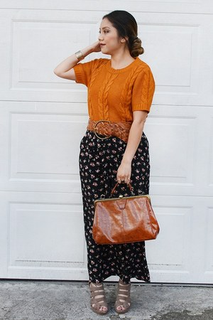 tawny Forever 21 sweater - brown savers purse - diy floral Forever 21 skirt
