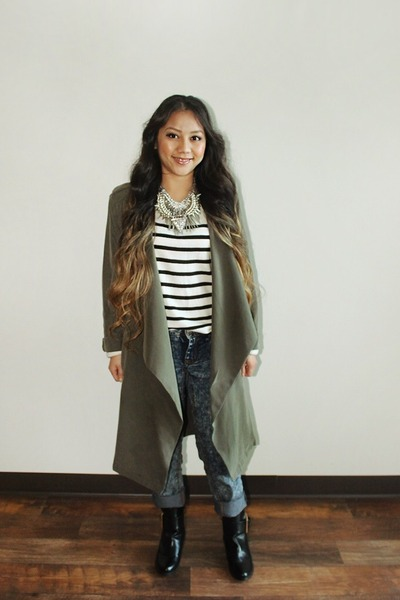 olive green draped Forever 21 coat - black from Korea boots - merona sweater