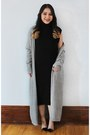 Black-forever-21-dress-silver-silence-noise-urban-outfitters-cardigan