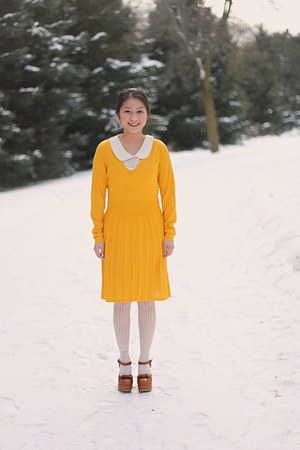 burnt orange from Korea shoes - gold knitted dress Thrift Store dress