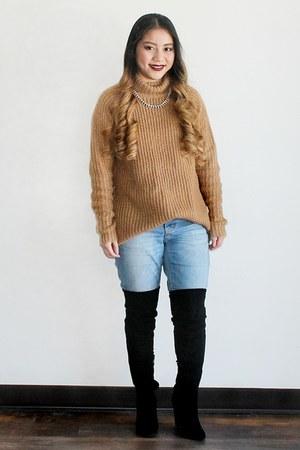 black Aldo boots - light blue Target jeans - tan Forever 21 sweater