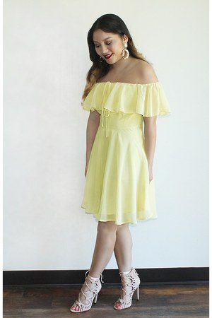 yellow Forever 21 dress - neutral lace up from Korea heels