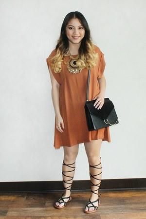 black DIY purse - burnt orange bow dress - black DIY sandals