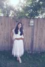 Peach-china-wedges-off-white-korea-skirt-ivory-flea-market-blouse