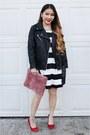 Black-striped-h-m-dress-black-forever-21-jacket-pink-fur-clutch-diy-purse