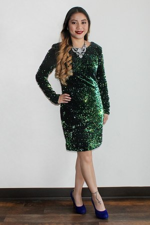 green sequin Bebe dress - blue suede from Korea pumps - silver necklace