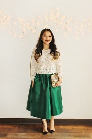 sequin from Korea purse - transparent from Korea heels - dark green Choies skirt