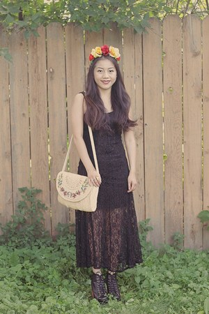 black korea boots - black lace dress Forever 21 dress - ivory Thrift Store purse