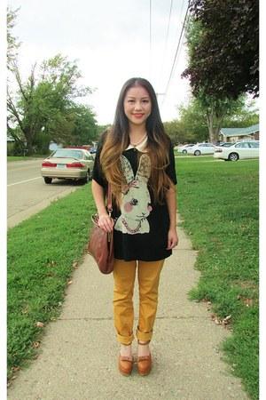 burnt orange China shoes - mustard Marshalls jeans - crimson China shirt