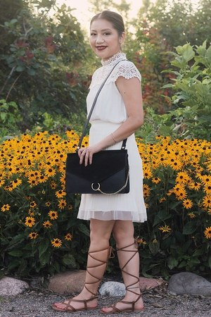 black DIY purse - white pleated chiffon skirt - white lace Forever 21 blouse