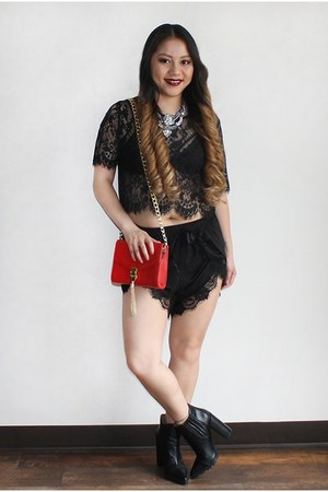 black lace shorts - black asos boots - red Forever 21 purse - silver necklace