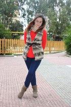 brown faux fur Zara vest - blue H&M jeans - carrot orange H&M shirt