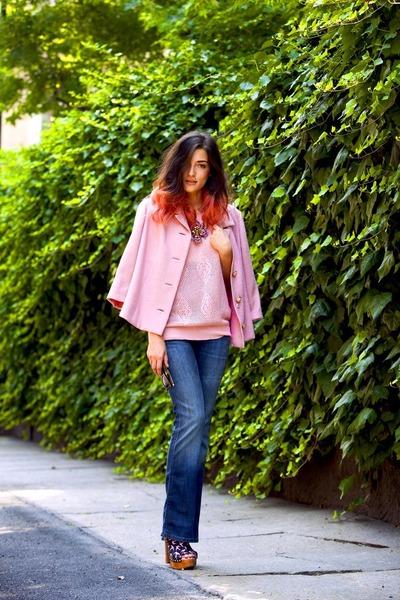 bubble gum vintage blazer - navy used Wrangler jeans - bubble gum vintage shirt