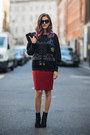 Forest-green-jimmy-choo-boots-forest-green-zara-hoodie-crimson-zara-skirt