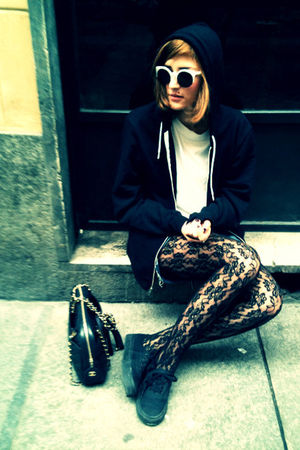 black Chanel bag - black Vans shoes - vintage socks - American Apparel jumper -