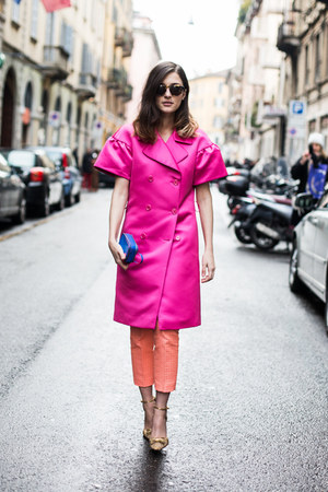 blue hogan bag - hot pink puffy sleeves Moschino jacket