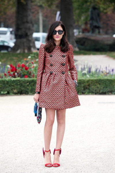 carrot orange jaquard redvalentino coat - blue Anya Hindamarch bag