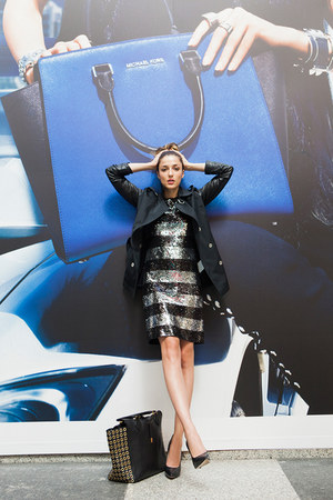 black rain jacket Michael Kors coat - silver sequins Michael Kors dress