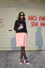 Bubble-gum-faux-fur-hache-coat-black-polka-dots-calzedonia-tights