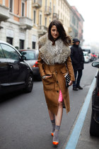 bronze Dsquared2 coat - hot pink Dsquared2 skirt