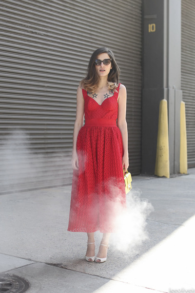 red Cavalli dress - cream Jimmy Choo bag - black DSquared sunglasses