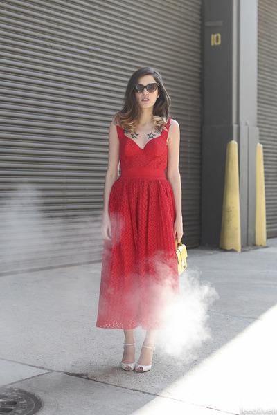 red Cavalli dress - cream Jimmy Choo bag - black DSquared sunglasses