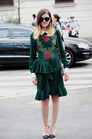 green Moschino dress - red plexiglass Roger Vivier bag