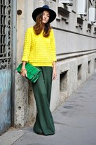 yellow COS sweater - navy wool Zara hat - chartreuse pyton asos purse