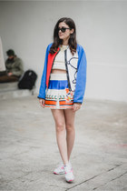 blue neoprene fay jacket - white air max nike shoes - cream knitted SUNO top