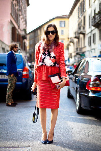 red MSGM blouse - coral MSGM shirt - red MSGM skirt