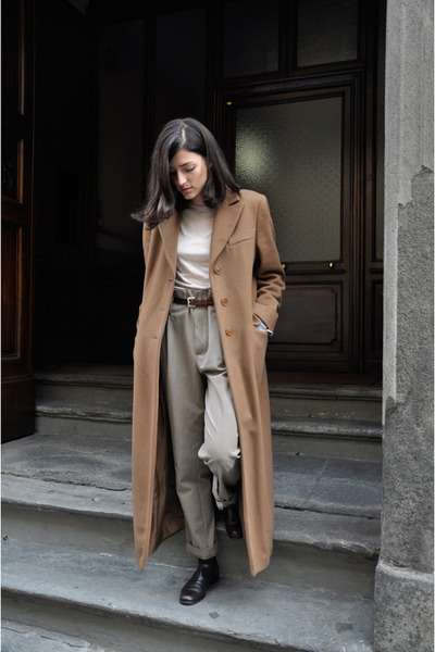 brown long armani coat - brown vintage armani shoes - beige soft aspesi shirt