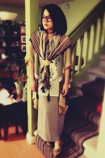 Urban Outfitters sweater - olive green Aldo scarf - camel TNA cardigan