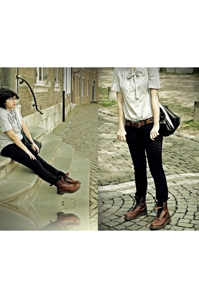 French Connection blouse - doc martens shoes - belt - Zara jeans - American Appa