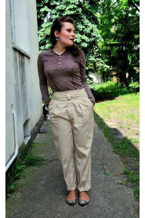 beige made by taylor 4 me pants - brown reserved blouse - pink H&M shoes - silve