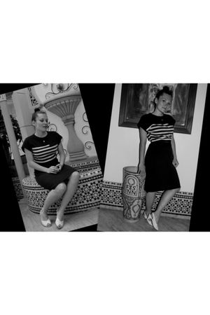 black vintage dress - white vintage shoes