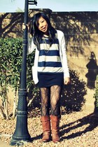 thrifted boots - lace Forever 21 stockings - American Apparel skirt - striped If