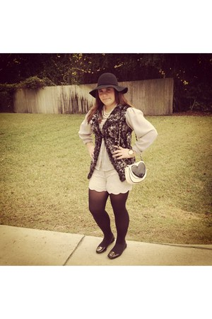 black Forever 21 hat - black Betsey Johnson bag - ivory Jessic Simson shorts