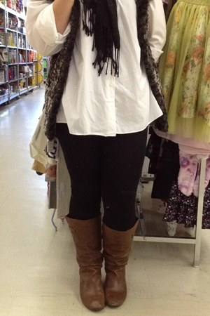 brown Target boots - black TJMaxx leggings - white TJMaxx shirt