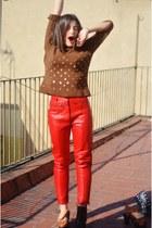 red vintage pants