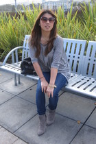 H&M top - Seven For All Mankind jacket - Reiss boots - vintage sunglasses - Nord