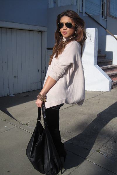 Reiss sweater - Express tights - Marc Fisher boots - H&M purse - Betsey Johnson