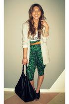 H&M blazer - dimepiece tights - Forever 21 pants - linea pelle belt - calvin kle