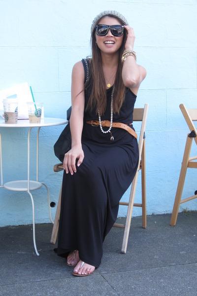 H&M dress - linea pelle belt - grey ant sunglasses - Urban Outfitters hat - coac