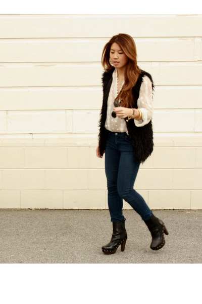 clogs Forever 21 boots - jeggings Seven For All Mankind jeans - sheer Zoa shirt