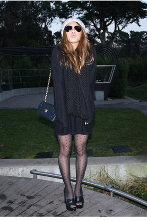 H&amp;M sweater - Chanel bag - Jcrew stockings - Elizabeth and James pumps