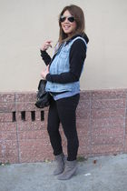 DIY studded vest - American Apparel sweater - Forever 21 jacket - Reiss boots -